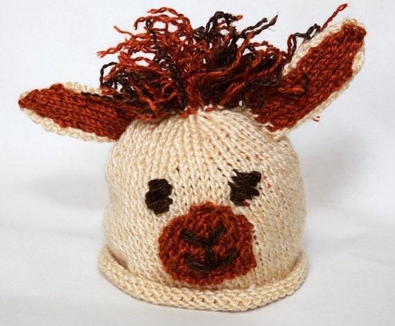 Knitting Pattern Llama Alpaca Baby Hat Easy Newborn 12 Etsy