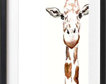 Giraffe watercolor painting - art print