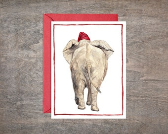 Elephant Christmas Card Set // Set of 8 Holiday cards