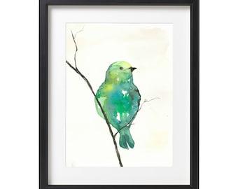 Green Bird Watercolor Painting - art print