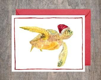 Sea Turtle Christmas Card Set // Set of 8 Holiday cards