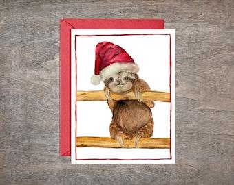 Sloth Christmas Card Set // Set of 8 Holiday cards