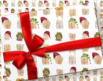 Christmas Holiday Butts Wrapping Paper // Santa Butts Gift Wrap // Funny Wrapping Paper // Gift Wrap Sheets