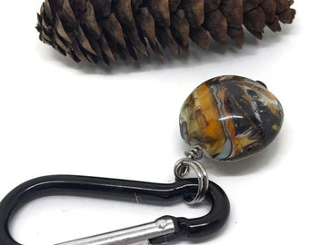 Rock Inspired Glass with Carabiner- Intention Clip for Water Bottle- Mindful Glass Token