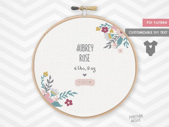 Floral Birth Announcement Counted Cross Stitch Pattern Baby Etsy