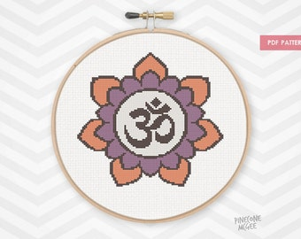 OM FLOWER counted cross stitch pattern, purple om mandala pdf