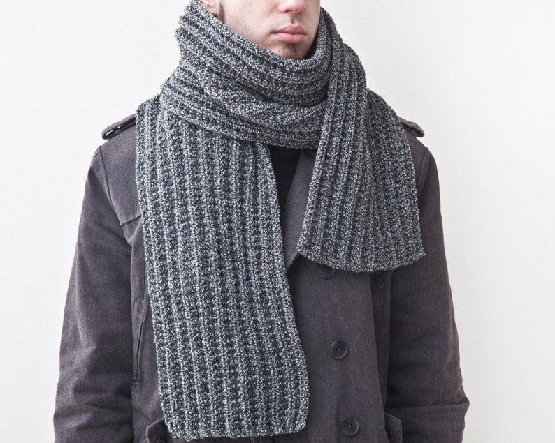 Gray Knit Scarf For Him Handmade Men S Scarf Fathers Day Etsy
