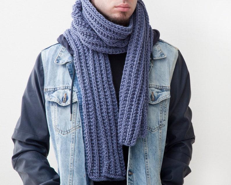 Gut gemocht Blaue Herren Schal Handarbeit stricken Schal für ihn Unisex | Etsy JB87
