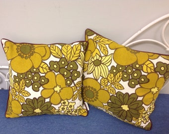 Vintage 1960s floral fabric cushions piped with silk