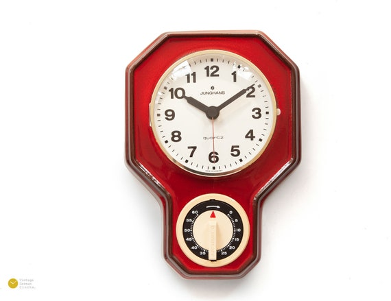 Magnificent Space Age Junghans Ceramic Kitchen Clock Timer Mid Century Panton Modern Wall Red Mcm 70S 1970S Alarm Fat Lava Download Free Architecture Designs Rallybritishbridgeorg