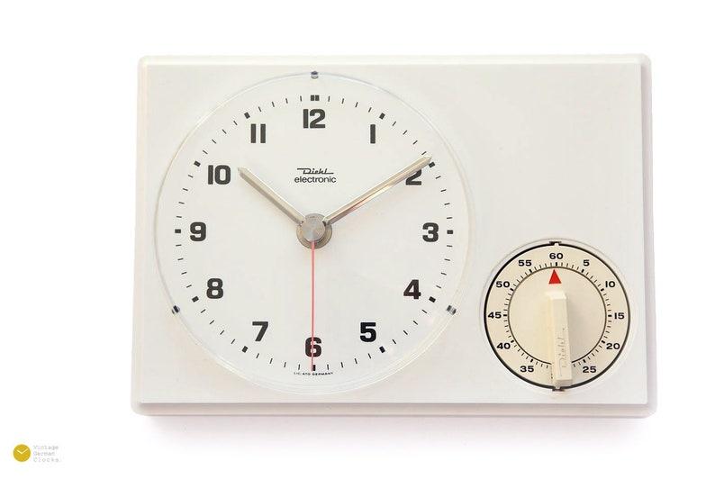 Peachy 70S Diehl Junghans Wall Kitchen Clock Timer Panton Space Age Modern Pop Mid Century German White 1970S Alarm Download Free Architecture Designs Rallybritishbridgeorg