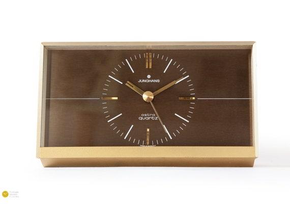Elegant JUNGHANS Desk CLOCK - Mid Century Modern Danish table Atomic Space  Age Germany mcm Mantel shelf - 70s 60s