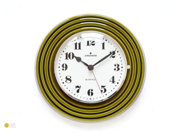 Terrific Space Age Junghans Ceramic Wall Kitchen Clock Panton Op Art Mid Century Germany 70S Mcm Moss Download Free Architecture Designs Rallybritishbridgeorg