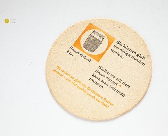 1960s BRAUN Sixtant BEER COASTER Ad Advertising Shaver Hans | Etsy