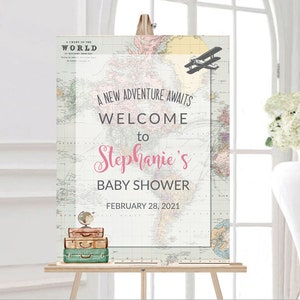 Travel baby shower Welcome Sign M1 Travel theme Baby Shower Decoration Travel Baby shower Centerpieces Adventure baby shower