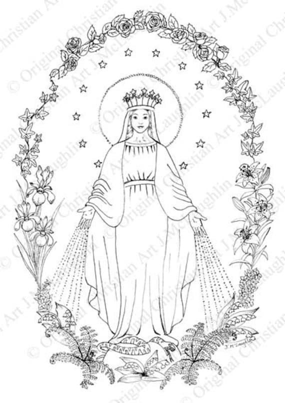 Página para colorear de la Virgen de gracia | Etsy