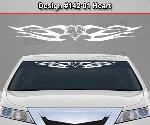 #115-01 Heart Rear Window Decal Sticker Vinyl Graphic Tribal Flame Car SUV Truck