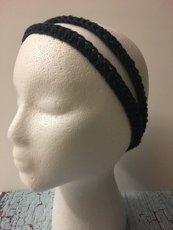 Crochet headband, womens headband, navy headband, hair accessories, hair band