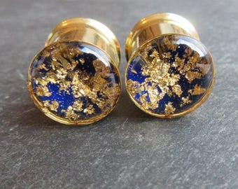 "Ear Plugs MADE TO ORDER Gold and Dark Blue Lapis Lazuli inspired Gauge Tunnels 0g 00g 8mm 10mm 12mm 14mm 16mm 19mm 22mm 25mm 1"" thru 51mm 2"""