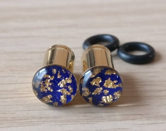 2 gauge earrings 6mm Ear Plugs Gold Blue Lapis Lazuli inspired 2G Tunnels READY TO SHIP