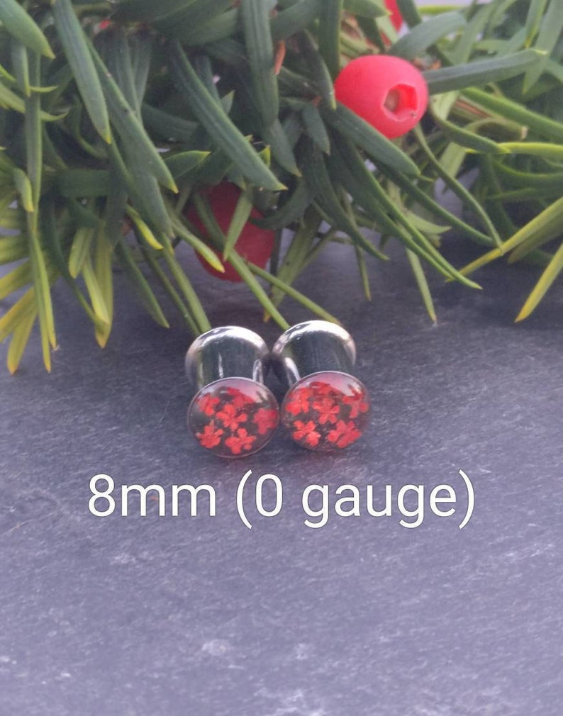 Real Flower Plugs Girly Gauges Ear Tunnels Natural Spring Summer Wedding Feminine Red Floral Unique Custom Alternative Unusual