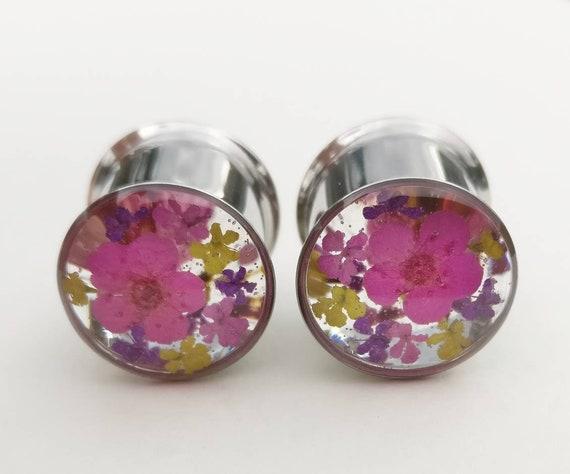"1 Pair 1//2/"" Organic Purple Stone Single Flare Ear Plugs Gauge Half Inch 12mm"