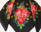 Russian Vintage Floral Ukrainian head shawl with roses gift USSR Babushka Russian black woolen boho warm festival clothing scarf
