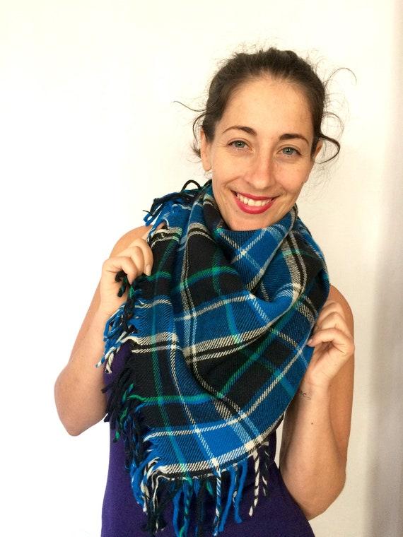 100% Wool Blanket tartan Winter scarf - Vintage ba