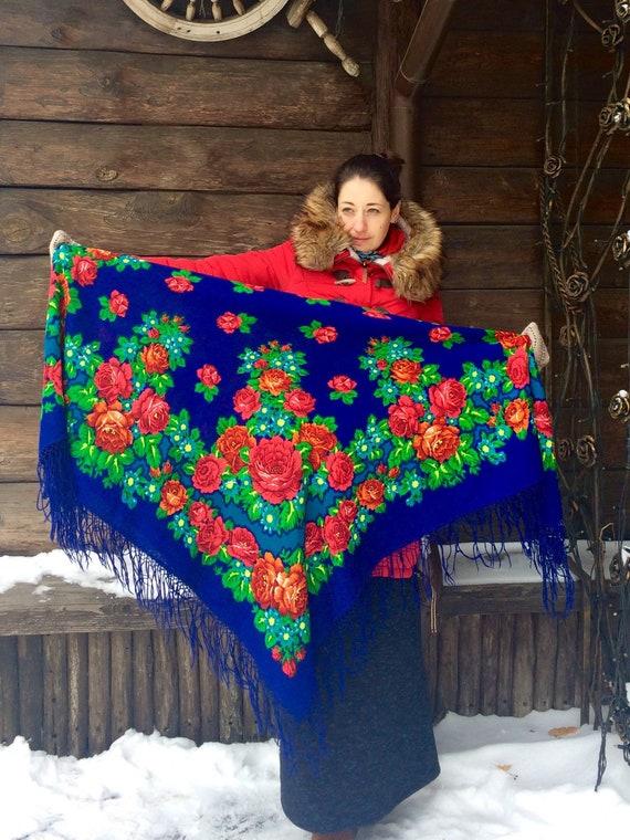 Bohemian big vintage blue shawl - Ukrainian romani