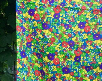 Soviet Vintage Cotton Fabric Retro Russian Red Blue yellow Color Fabric with Flowers Made in USSR Ukrainian Collectible Fabric