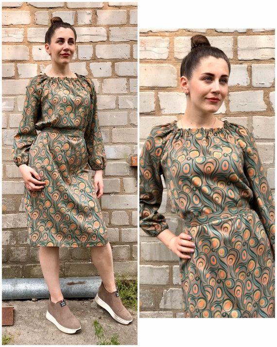 Retro cotton dress USSR 1980s - Retro dress print