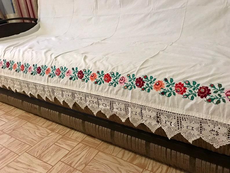 Handwoven Bed Cover European Folk Textile Traditional Table Linen
