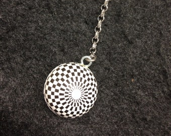 Geometric Checkered Circles Keychains.  Escher would have chain his keys to these.  FOR REAL!