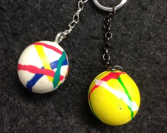 Van Halen Frankenstrat Striped Bouncy Ball Keychain.  Rock your keys like a God!