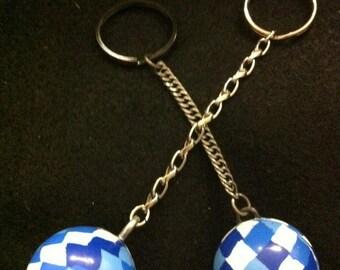 "HANDMADE ""Checkered"" Bouncy Ball Keychain - NEVER lose your keys AGAIN!!!"