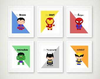 Superhero Print Set of 6 Superhero Wall Art Boys Room Superhero Art Superman Print Batman Print Super Hero Art Instant Download  sc 1 st  Etsy & Superhero wall art | Etsy