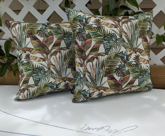 2 Tropical Leaf Print 18x18 Indoor Outdoor Pillow Cover With Etsy