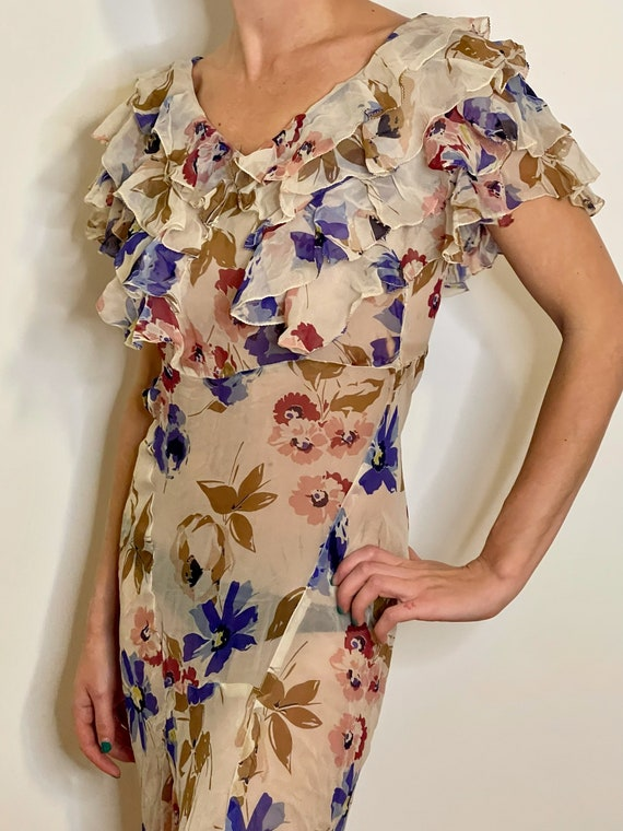 1930s 30s silk floral bias cut gown dress with ruf