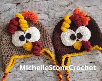 Turkey Beanie/Turkey winter hat/Baby-Adult sizes