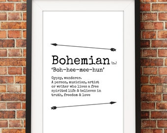 Bohemian Meaning - Jpeg - A4 + Letter + 8x10 - INSTANT DOWNLOAD - Digital Print - Wall Art - Printable Poster