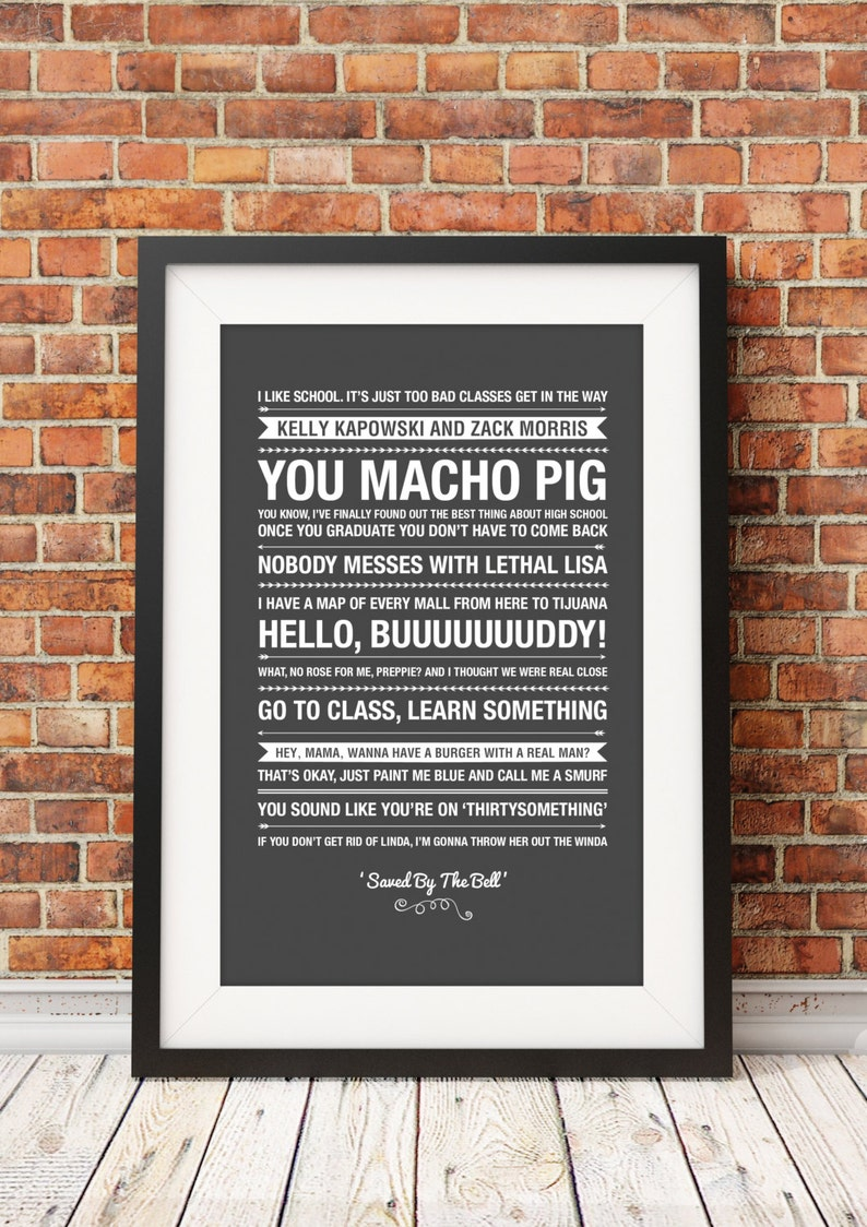 Saved By The Bell Quotes Jpeg A4 Letter 8x10 Instant Etsy