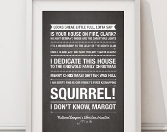National Lampoons Christmas Vacation Quotes - HIGH QUALITY PRINT -  Choose Your Size - Wall Art - Poster Print - Modern Design