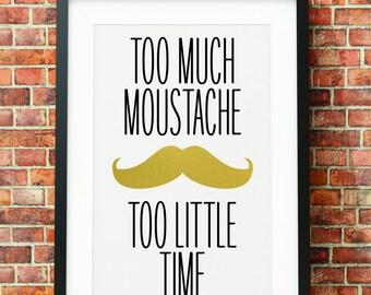 Moustache - Gold - Jpeg - A4 + 8x10 - INSTANT DOWNLOAD - Digital Print - Wall Art - Printable Poster