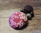 Vintage Kimono Covered Button Beads Ponytail Holder, Shibori Red Purple, phvk007
