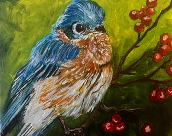 Blue Bird With Red Berries