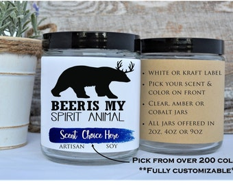 Beer Is My Spirit Animal Candle Gift Lover Funny For Boyfriend 21 Birthday Candles Unique Gifts