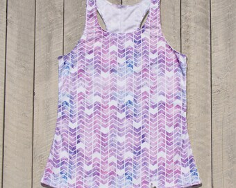 Medium - Pastel Purple Chevron Racerback Workout Tank