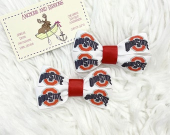 Ohio State - Set of TWO Hair Bows / Barrettes / Clips!  (Two styles to choose from!)