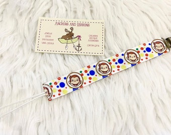 Curious George Universal Pacifier Clip - To keep that binky safe! (Choose from 2 pattern options!)