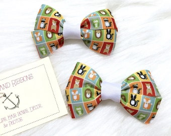 Forest Friends - Set of TWO Hair Bows / Barrettes / Clips! *CLEARANCE*